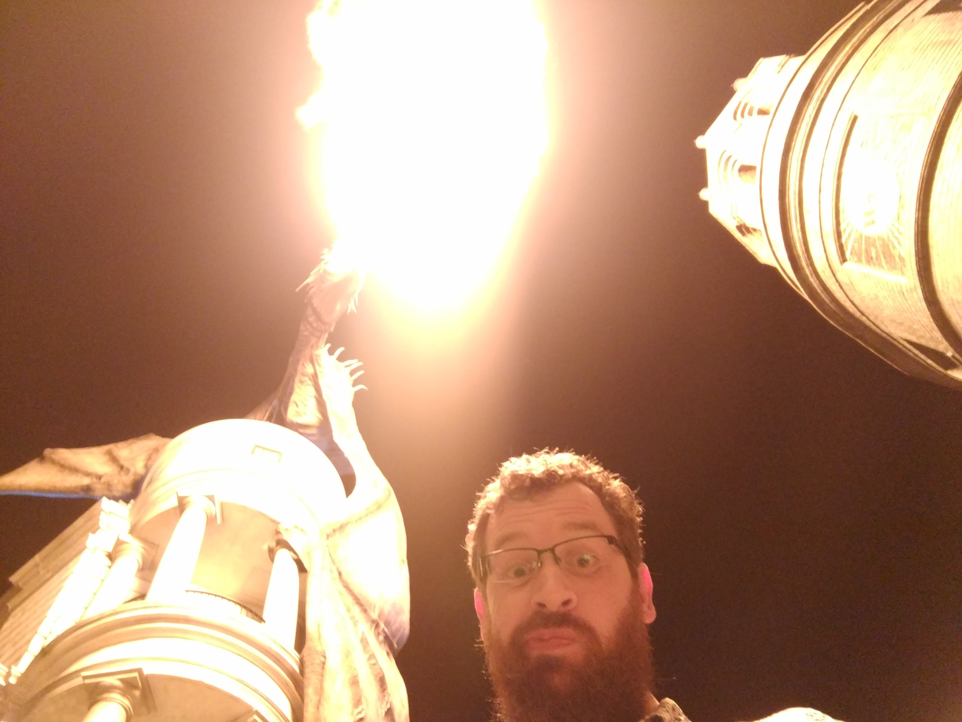 A selfie of me with a fire breathing dragon at the Harry Potter themed amusement park in Orlando, Florida.